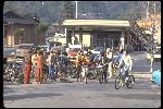 Riders amassing in downtown Fairfax, CA for another Repack, January 1979.