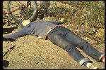Gary Fisher lying on fire road at top junction of Repack Road and Pine Mountain Truck Road